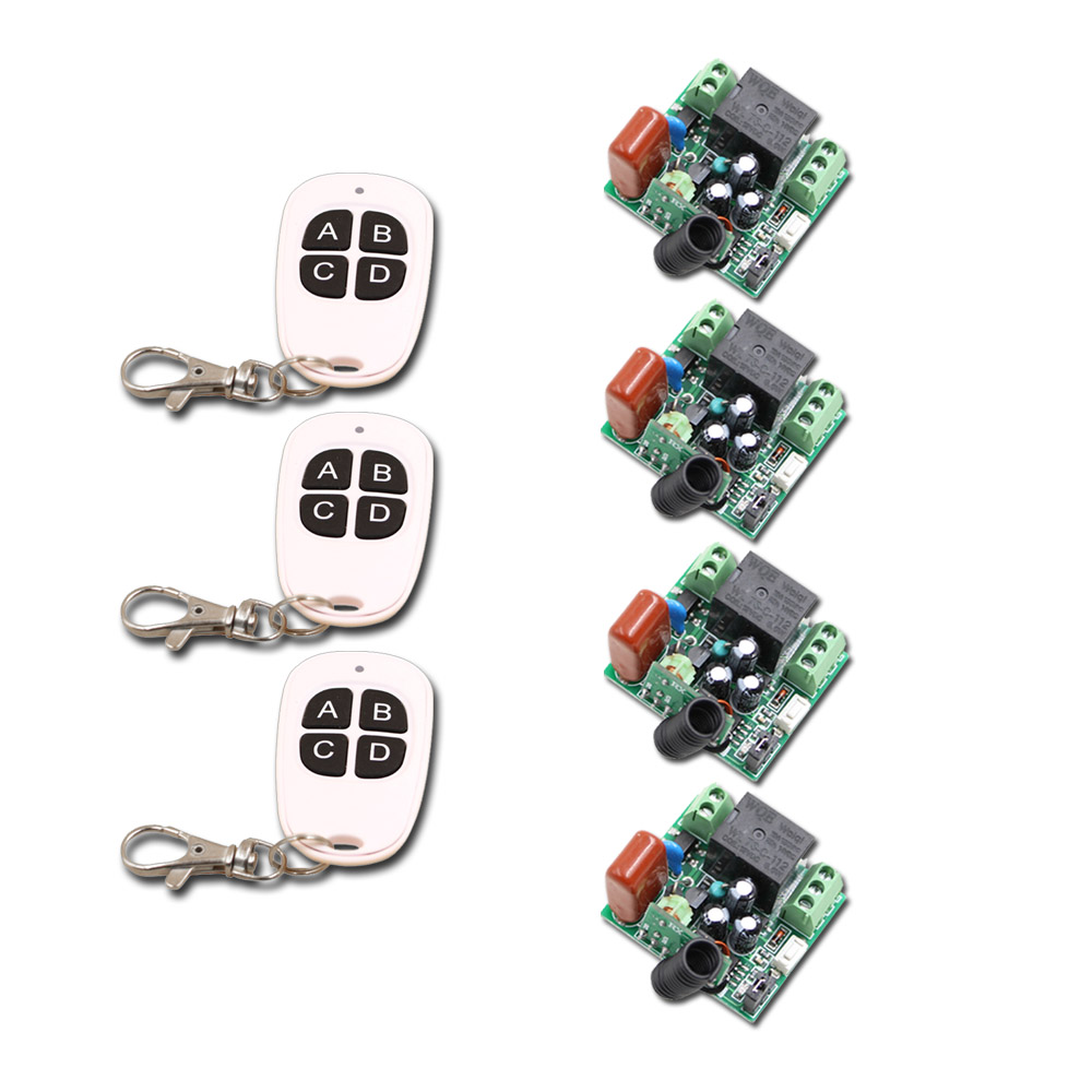 New AC220V 1CH 10A Wireless Remote Control Switch 4pcs Receiver &amp; 3pcs Transmitter Smart RF Remote Control Switch for Smart Home<br>
