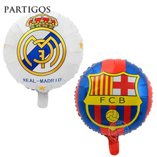50pcs 18inch Real Madrid Champions League Club Barcelona Aluminium Foil Balloons FCB Team Logo Barca Soccer Fans Celebration(China)