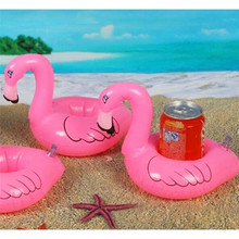 Mini Flamingo Floating Inflatable Coasters Drink Cell Phone Holder Stand Pool Event & Party Decoration Toy For Kids(China)