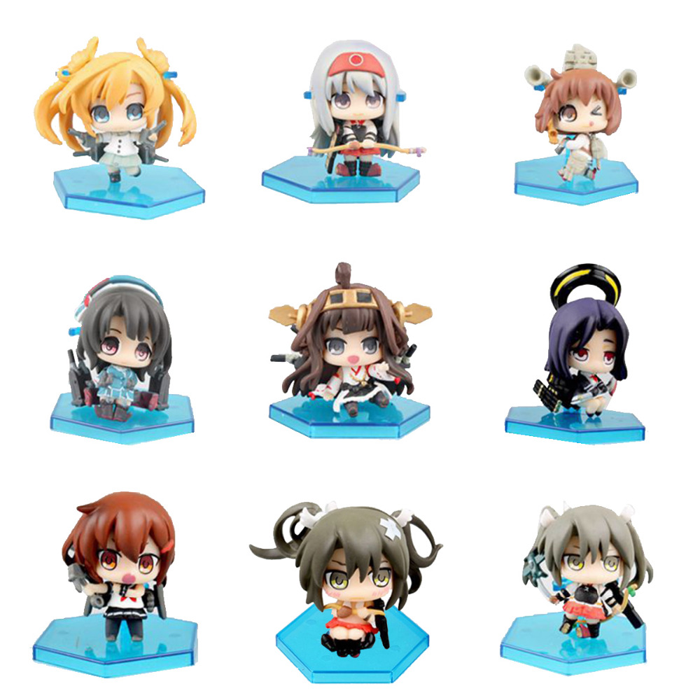 Lot of 9pcs Kantai Collection Amatsukaze Shimakaze Kongou Mini Figure Collectible Free Shipping<br>