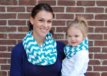 Classic in stock Wholesale printed kids or lady chevron infinity scarf polyester ,EMS/DHL free shipping(China)