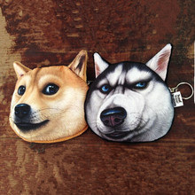 2016 Cylindrical Zipper Animal Prints New Coin Purses Dog Wallet Cute Key Pendant Bags Funny 3D Coin Purse Pouch Gift