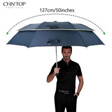 CHN-TOP Large Umbrella For Men Rain Women 2Folding Quality Windproof Golf Umbrella Male Double Business Car Outdoor Parasol(China)