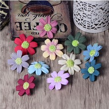 25PC Artificial Cloth Daisy Decorative Flowers Wedding New Year Festa Baby Birthday Party Gift Box Decor Rural Flowers Accessory
