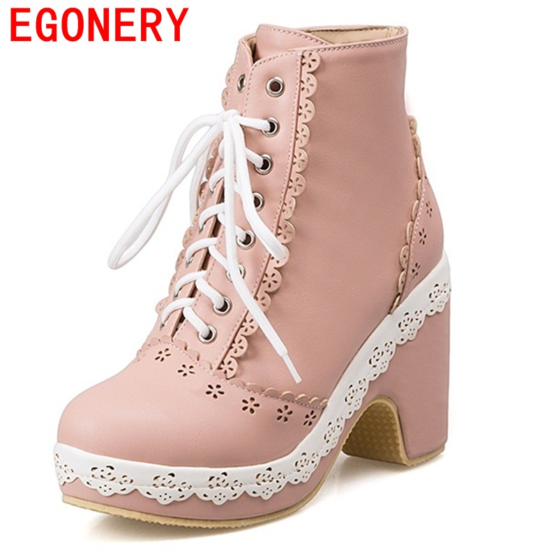 EGONERY shoes 2017 fashion women ankle boots sweet style high quality cut-out square heels riding equestrian shoes round toe<br>
