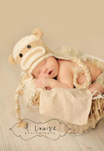 free shipping,hot selling !Handmade Baby Crochet Sock Monkey Hat Beanies -white/yellow Photograph Newborn to 5 Year