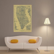 New York City Map Vintage Retro Posters Print Home Decoration Painting Modern Wall Art Picture Silk Fabric