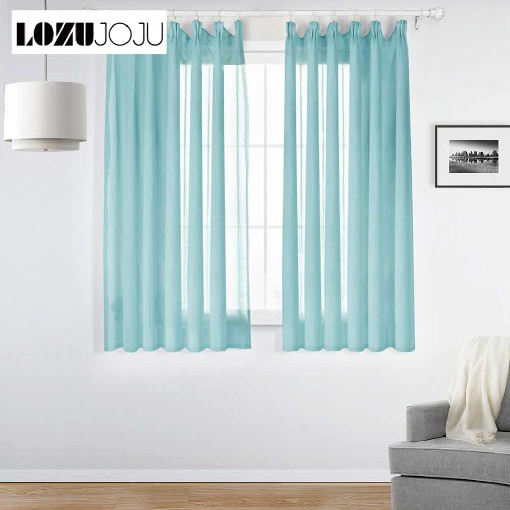 LOZUJOJU Solid Short Sheer Curtains Transparent Tulle Drops All Match for Kitchen Window Modern Design Chiffon Fabric Tape Style