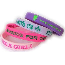 400pcs 202x12x2MM debossed color filled customized wristband silicone bracelets free shipping by DHL express