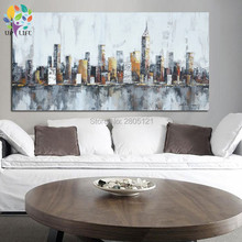 handpainted Modern abstract city Canvas Painting gray Canvas Art new york Landscape Picture Cuadros Decoracion For Living Room
