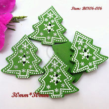 50pcs Green Christmas trees wood buttons 2 holes Christmas decorative accessories scrapbook craft diy sewing materials