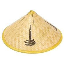 Leaves Handmade Bamboo Woven Hat Cap Tourism Rain Gear Costume Cone Conical Farmer Asian Chinese Country For Performance Show(China)