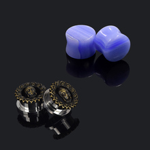 Multi-Style Unique Ear Expender Body Piercing Jewelry Double Flared Stone Plugs and Stainless Steel Tunnels Earring Set