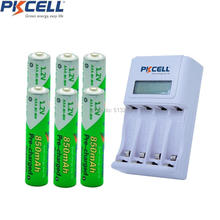 6Pcs PKCELL Pre-charged AAA Rechargeable Battery 4slot EU/US LCD Charging Indicator Charger For 1to4pcs AA/AAA NICD/NIMH Batter