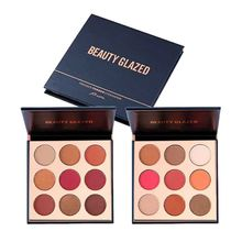 Nine Colors Beauty Glazed Eyeshadow Plated Matte Diamond Glitter Foiled Eye Shadow in One Blush Makeup Set Beauty