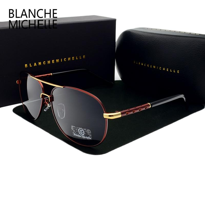 Blanche New Hot High Quality brand designer Polarized Sun Glasses Driving Sport Male Fashion Oculos men sunglasses with Box<br><br>Aliexpress