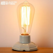 Loft Vintage Retro Industrial Ceramics Edison Desk Accent Lamps Antique E27 LED Table Lights Bedside Lamp for Bedroom Cafe Bar