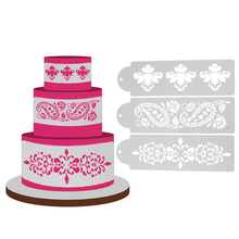 3Pcs Lace Flower Cake Stencil DIY Cake Spray Fondant Template Cookie Cake Decorating Mold Kitchen Baking Tool