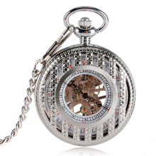 Luxury Silver Mechanical Hand Wind Pocket Watch Hollow Engraved Strip Skeleton Fob Watches 2016 New(China)