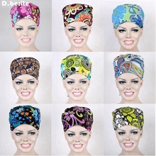Unisex 9 Kinds Food Service Working Beauty Cap Chef Hat Flower Printing Scrub Cap Medical Surgical Surgery Hat DAJ9016(China)