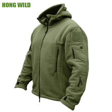 HONG WILD Military Man Fleece Tactical Softshell Jacket Polartec Thermal Polar Hooded Outerwear Coat Army Clothes(China)