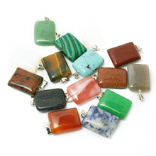 New Hot Natural Synthetic Rectangle beads Stone Charms Gem stone Fashion Jewelry Pendants 15*20mm for DIY Necklace BTB697(China)