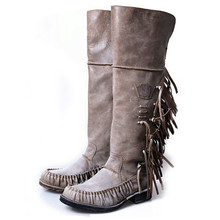 Winter Newest Pleated Designer Boots Women Fringe Decoration Retro Zip Side Low Heels Boots Do Old Knight Boots 34-40