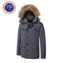 Big Fur 2017 Brand New Mens thick Goose Down Banff Parka Coat Winter Warm Jacket with Removeable Raccoon fur(China)