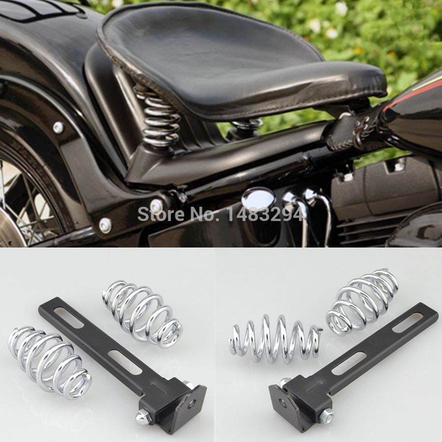 "Motorcycle 2/"" Chrome SOLO Seat Bracket Spring for Harley Softail Road Glide King"