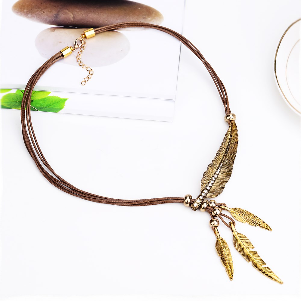 Necklace Alloy Feather Statement Pendants Vintage  Rope Chain Necklace