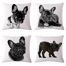 Docushion 45cm*45cm Decorative Traditional Throw Pillow Case Vintage Cotton Linen Square cover Painted pet dog series cover(China)