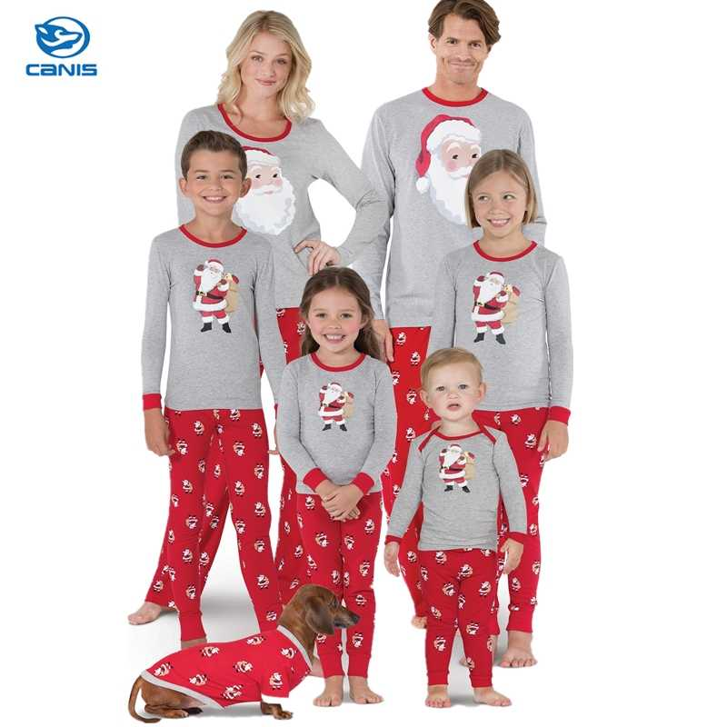 Christmas Pajamas New Year Dad Mother Daughter Outfits Family Matching  Clothes Sleepwear Red Cotton Pajama Set 16737b906395