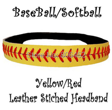 DHL free shipping wholesale 150pcs Leather Softball Seam Headband (Yellow with Red Seam)(China)