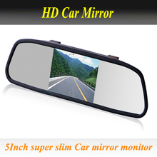 Free Shipping Car Rear Mirror Monitor 5 Inch 800*480 Car Hd Display Rear View Mirror Monitor 2ch Video Input Parking Assistance
