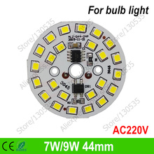 7W/9W 44mm 24leds ac220v led pcb 2835 integrated ic driver+connect wire driverless smd pcb module for downlight bulb panel light