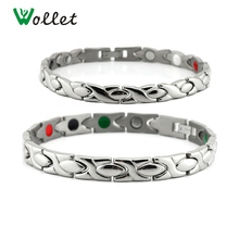 Wollet Jewelry Couple Healing Bio Energy Magnetic Infrared Ions Germanium Titanium Bracelet for Women Men