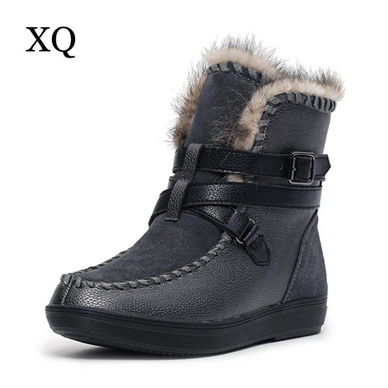 Women boots 2017 thick plush warm genuine leather women winter shoes waterproof platform ankle snow boots for degree -40<br>