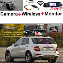 For Mercedes Benz ML MB W164 ML350 ML330 ML450 ML500 3in1 Car Camera + Wireless + Mirror Monitor Parking Rear View System