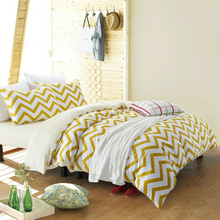 100%Cotton Chevron Yellow And White  Bedding Set 4 Pcs 36S Home Sateen Cotton Duvet Cover Pillow Cover Bed Set Queen King