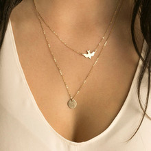 NK123 Punk Multilayer Necklaces For Women Peace Pigeon Birds Collares Minimalist Jewelry Circle Dainty Pendant Necklace Gift(China)