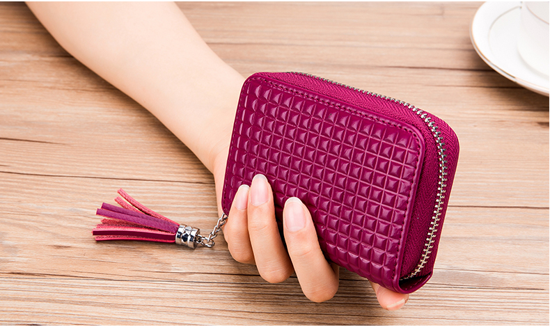 Lomelobo Lady Split Leather Card Wallet Holder Girl Zipper Coin Purse Women Cowhide Large capacity Card Case Housekeeper HCL7126 Details (12)