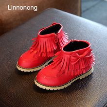 2017 New Autumn Children Boots Fashion Kids Girls Princes Boots Tassel Antislip Snow Boots Winter Baby Snow Boots Size 21-36