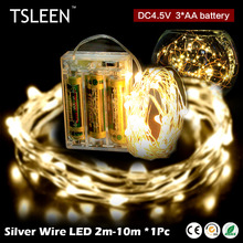 TSLEEN String Light 10m 100Leds Flexible Silver Wire Fairy Lights LED Strip For Home Furnishings Room Decoration Light(China)