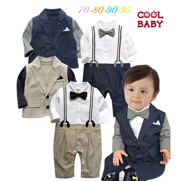 Baby boys clothes set jacket+ romper 2 colors kids gentelmen suit Spring Fall Kindergarten Children Son Baby Clothing Sets<br><br>Aliexpress
