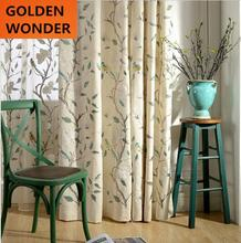 Hot Selling Modern Curtains Linen Fabric Finished Product Embroidered Leaves and Birds Cotton Curtains For Living Room Window
