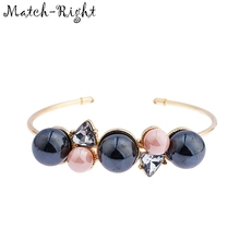Match-Right Women Jewelry of Open Bracelets & Bangles with Wide Metal Cuff  Imitation Pearl Bangle Bracelet for Women LG-060