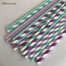 (125 pieces/lot) Purple and Tiffany Blue Stripe Chevron Paper Straws for Mermaid Under the Sea Wedding Party Decoration(China)