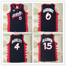 #6 Anfernee Hardaway #4 charles barkley #15 Hakeem Olajuwon Team USA Vintage Throwback Basketball Jerseys, Retro Men cheap Custo