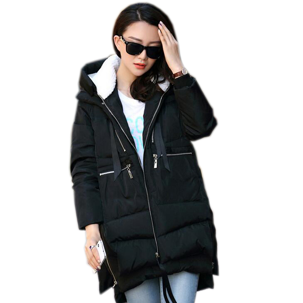 Zipper Up Irregular Long Jackets Winter Full-Sleeved Loose Padded Warm Coats Women Stylish Baggy Hooded Parka Thick Black GreenÎäåæäà è àêñåññóàðû<br><br>