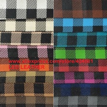 Synthetic Leather Fabric with Printed  Plaids Grain Faux Leather Pu Leather Material for DIY Fabric Furniture P450